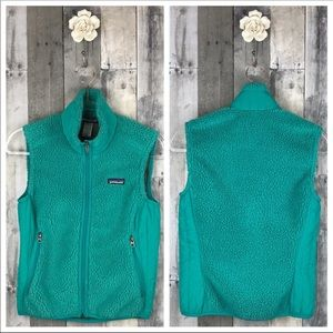 Patagonia Teal R2 Cotton Fleece Vest Size Small